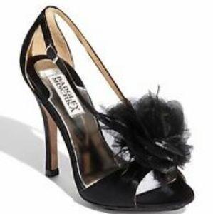 """Badgley Mischka """"Kiwi"""" Black Satin High Heels"""
